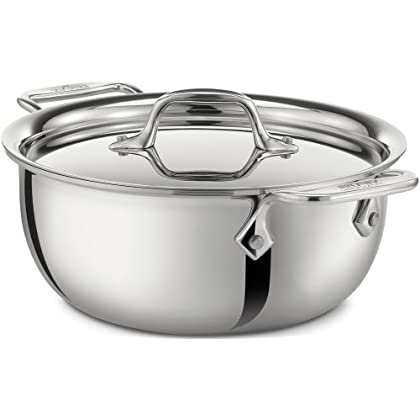 Image of All-Clad 421349 Stainless Steel Tri-Ply Bonded Dishwasher Safe Cassoulet with Lid / Cookware, 3-Quart, Silver Home and Kitchen