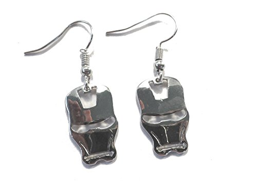 Marvel Iron Man Silver Mask Logo Dangle Earrings Gift Box Included