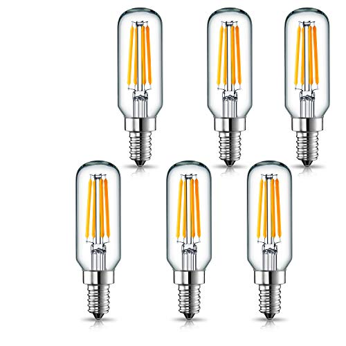 (LEKE LED Candelabra Bulb 40 Watt Equivalent E12 Light Bulb Dimmable 4W LED Light Bulbs Warm White 2700K with 400lm E12 Base LED Vintage Bulb T25 Tubular Bulb for Chandelier, Wall Lamp (6 Pack))