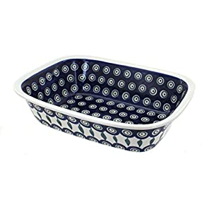 Polish Pottery Boleslawiec Oven Dish, Crumble, 18.3cm x 25cm in LEAF pattern