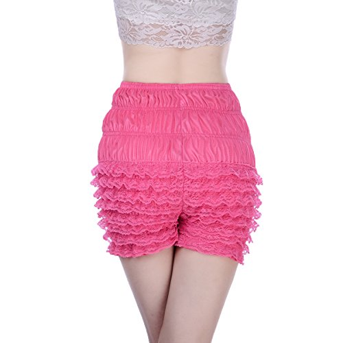 - Women Sexy Ruffled Lace Panties Sissy Pettipant Dance Bloomers Frilly Shorts (Rose red, Large)