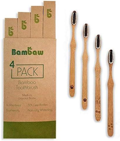 Bambus Zahnbürste | Ökologische Handzahnbürste | Weiße Zähne durch Aktivkohle | Antibakterielle Reinigung | Plastikfreie...