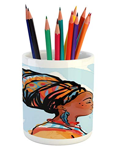(Ambesonne Folk Art Pencil Pen Holder, Side Portrait Painting of African Woman in Traditional Clothes and Feather Earring, Printed Ceramic Pencil Pen Holder for Desk Office Accessory, Multicolor )