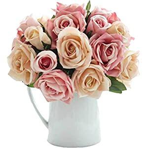 Anlise Artificial Flowers Silk 9 Heads Fake Roses Bunch Bouquet Flower for Bridal Wedding Party Home Festival Bar Décor (Pink) 12