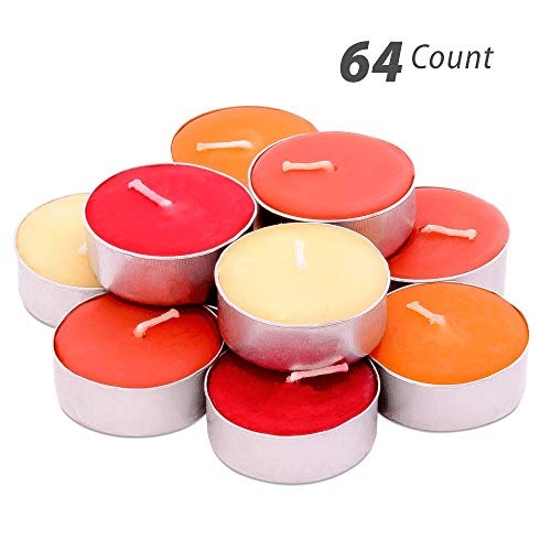ed Tealights - 64 pcs - Set of 16 Highly Scented Luxury Tealight Candles with 4 Autumn Fragrances - Pumpkin Spice with Nutmeg, Orange Clove, Apple Cinnamon and French Vanilla ()