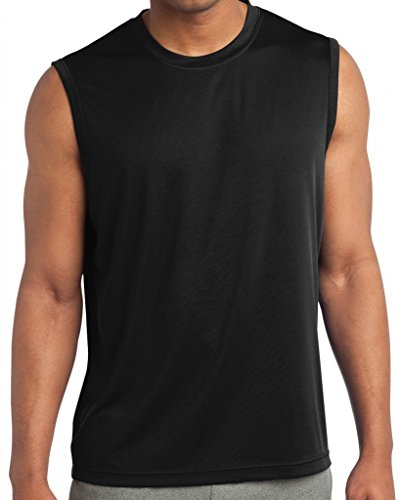 Yoga Clothing For You Mens Sleeveless Moisture Wicking Tee, Large Black