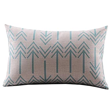 Create For-Life Cotton Linen Decorative Pillowcase Throw Pillow Cushion Cover Chevron Blue Rectangle 12  * 20