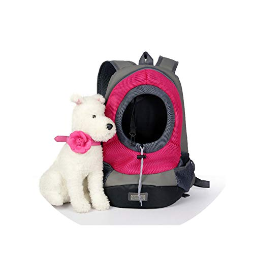 ZZmeet Portable Travel Pet Dog Front Bag Head Out Double Shoulder Pet Dog Cat Carrier Backpack Outdoor Breathable Mesh Pet Backpack,Rose,42x38 cm