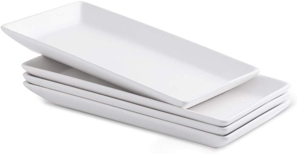 12-Inch Rectangular Serving Platter Porcelain Serving Tray Plate for Serving Set of 4, Matte White