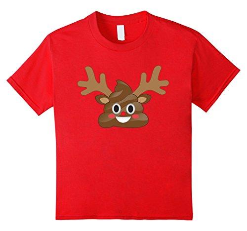 Kids Emoji Poop Reindeer T-Shirt