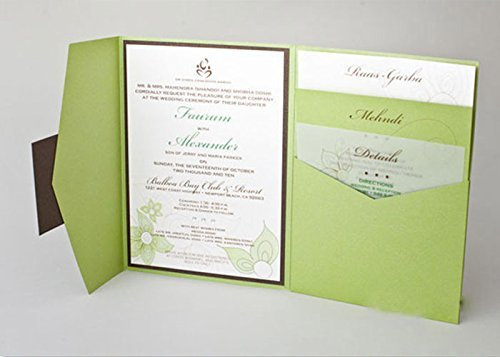amazon com eco green tri folded pocket wedding invitation handmade
