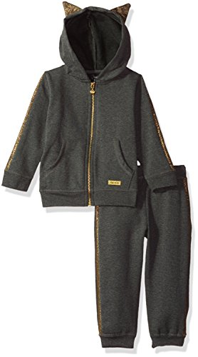 kensie Girls' Little Jacket and Pant Set (More Styles Available), Charcoal Heather-FHHB, 6 from kensie