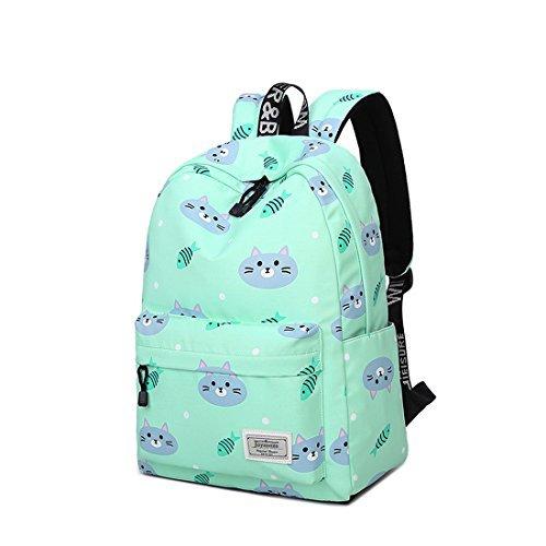 Joymoze Waterproof Cute Backpack for Girl Fashion Print Rucksack for Women Green 837