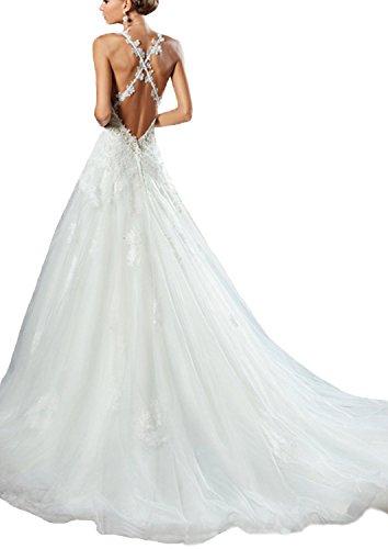 Les Spaghetti Des Femmes Bonbete Bretelles Robes De Mariée En Dentelle De Tulle Blanc Ligne Robe De Mariée Blanche