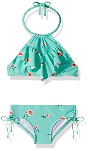 Kanu Surf Big Girls' Morgan Ruffle Halter Bikini 2-Piece Swimsuit, Pink, 2T, Aqua Floral, 14
