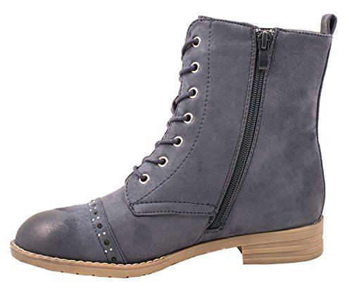 Elara Damen Stiefeletten | Worker Boots Spitze | Zipper mit Blockabsatz Blau 2