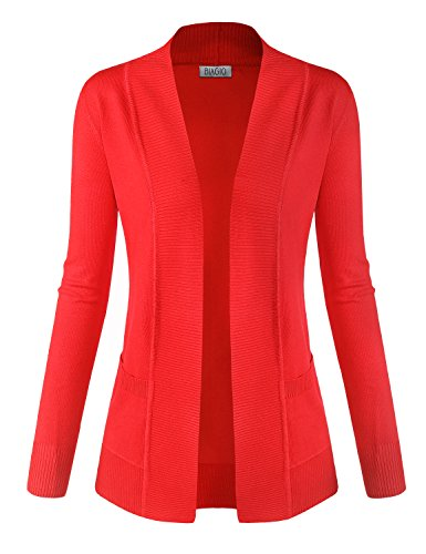 Coral Cardigan Sweater (BIADANI Women Classic Soft Long Sleeve Open Front Cardigan Sweater Coral Small)