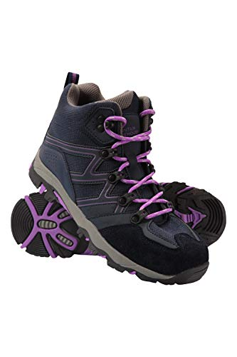 Mountain Warehouse Cushioned Footbed Mesh Lining Footwear Padded Tongue Suede & Mesh Upper Dark Purple Kids Shoe Size 4 US