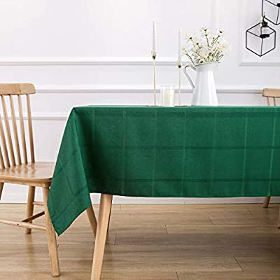 VEEYOO Rectangle Spillproof Table Cloth - 60 x 102 Inch Green Striped Tablecloth in Washable Polyester - Stain Resistant Wrinkle Free Tablecloth for Dinner Party Restaurant - 100% Polyester Fabric Tablecloth. Made of high quality material, these table cloth are soft touch, also they're stain and wrinkle resistant for home indoor and outdoor use. Elegance Plaid Table Cloth. Special design with jacquard lines makes these tablecloths more textured, beautiful and simple. Also the Hemmed edges checkered tablecloths are perfect for Bridal Shower, Banquet. Spillproof Tablecloth. All liquids/spills bead up for an easy clean with sponge or napkins. Also, these waterproof table covers are not fade. Machine washable, no bleach, gentle cycle and no iron, easy care for daily use. - tablecloths, kitchen-dining-room-table-linens, kitchen-dining-room - 41ckDyegpXL. SS400  -