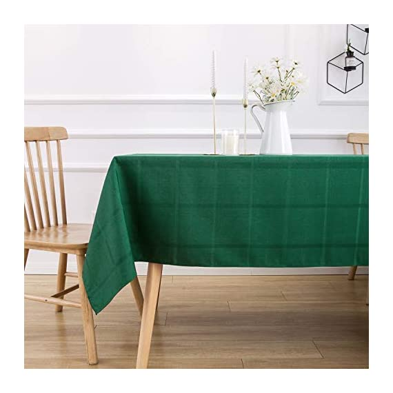 VEEYOO Rectangle Spillproof Table Cloth - 60 x 102 Inch Green Striped Tablecloth in Washable Polyester - Stain Resistant Wrinkle Free Tablecloth for Dinner Party Restaurant - 100% Polyester Fabric Tablecloth. Made of high quality material, these table cloth are soft touch, also they're stain and wrinkle resistant for home indoor and outdoor use. Elegance Plaid Table Cloth. Special design with jacquard lines makes these tablecloths more textured, beautiful and simple. Also the Hemmed edges checkered tablecloths are perfect for Bridal Shower, Banquet. Spillproof Tablecloth. All liquids/spills bead up for an easy clean with sponge or napkins. Also, these waterproof table covers are not fade. Machine washable, no bleach, gentle cycle and no iron, easy care for daily use. - tablecloths, kitchen-dining-room-table-linens, kitchen-dining-room - 41ckDyegpXL. SS570  -