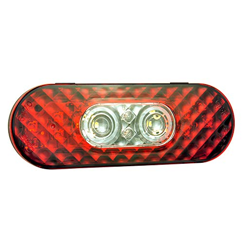 Grote 54702 6'' Oval LED Stop Tail Turn Light with Integrated Back-up (Integrated Hard Shell) by Grote