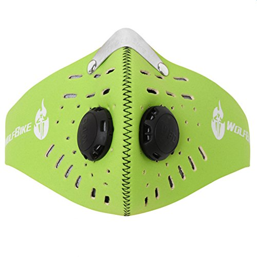 Super-Anti-Pollution-Motorcycle-Bicycle-Cycling-Racing-Mask-Carbon-Cloth-Bike-Ski-Half-Face-Mask-Filter-Green