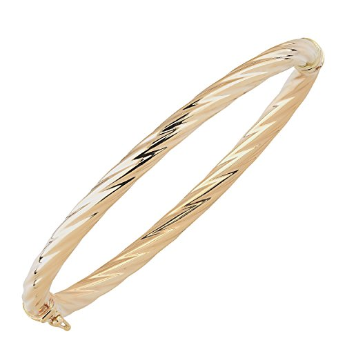 14k Yellow Gold 5mm High Polish Twist Design Bangle Bracelet