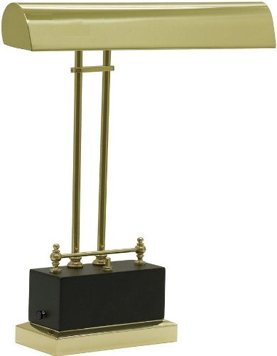 House Of Troy BPLED200 617 Battery Operated LED Piano Lamp, Black And Brass  Finish