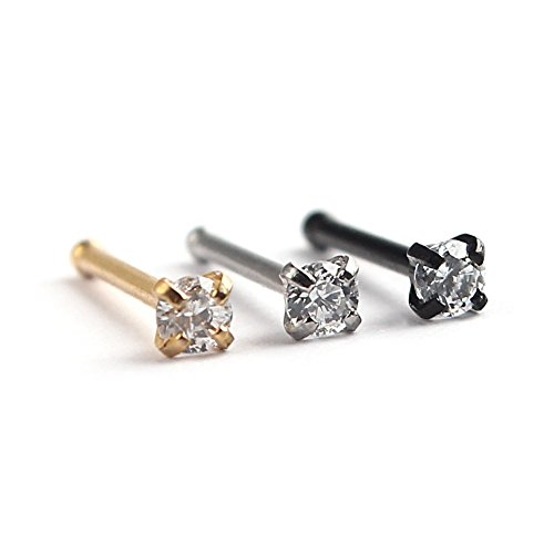 20g Rings Gold Screw Nose - Ruifan 20G Straight Nose Bone Studs Rings Pins with 2mm Round Cubic Zirconia Crystals Gem Piercing Jewelry 316L Surgical Steel Lot of 3
