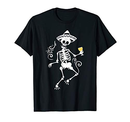 Skeleton Drinking Shirt, Day of the Dead Tee]()