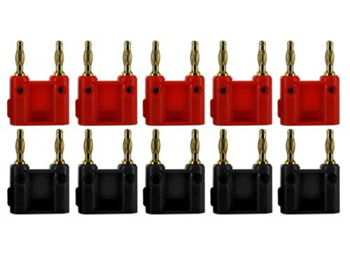 Sewell Dual Tip Banana Plug Clips, 10 Pack (5 Red and 5 Black) (Dual Banana Connector)