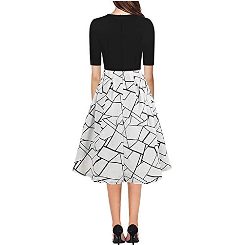(Leisuraly Women's Vintage Patchwork Pockets Puffy Swing Casual Party Dress Cocktail A-Line Summer Dress White)