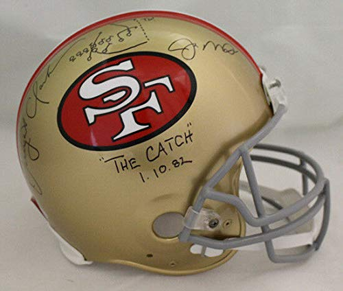 Joe Montana & Dwight Clark Autographed San Francisco 49ers Proline Helmet The Catch BAS