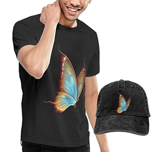 Men's Short Sleeves Butterfly T-Shirt + Jeans Hats Combo Set Black