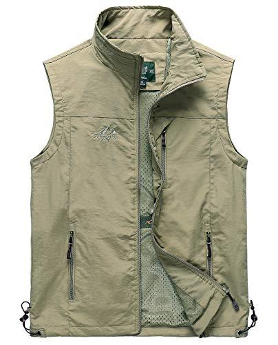 Hixiaohe Men's Lightweight Outdoor Work Fishing Photo Travel Hiking Vest Gilet (Khaki, XL)]()