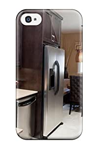 Hot Snap-on Kitchen With Garphic Pattern Backsplash And Dark Stained Cabinets Hard Cover Case/ Protective Case For Iphone 4/4s