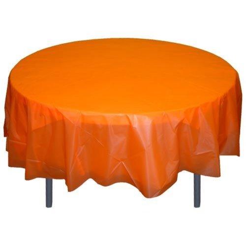 Orange Tablecloth - Exquisite 12-Pack Premium Plastic 84-Inch Round Tablecloth, Orange