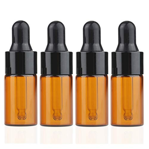 100Pcs 3ml Mini Cute Amber Glass Essential Oil Dropper Bottles with Eye Dropper Dispenser for Perfume Cosmetic Liquid Aromatherapy Sample Storage Jar Vial Containers Kitchen Tool, Black Cap