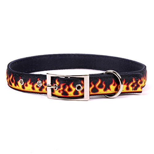 """Yellow Dog Design Red Flames Uptown Dog Collar, Small-3/4 wide and fits neck sizes 11 to 14.5"""""""