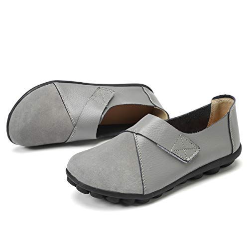 KISFLY Slip on Flats for Women Ladies Girls Summer Round Toe Gray Leather Loafers Hook and Loop Driving Walking Shoes Size 7.5