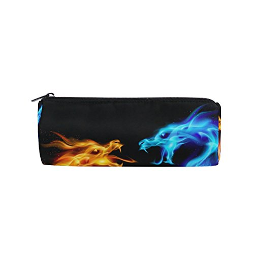 WOZO Abstract Blue Red Dragon Pen Pencil Case Makeup Cosmetic Pouch Case Travel Bag -