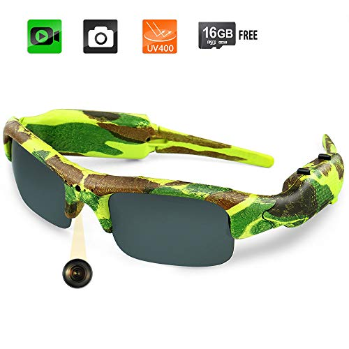 Toughsty 16GB 1080P HD Outdoor Hunting Video Camera Camo Polarized Sunglasses Action Video Recorder