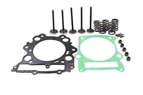 (Engine Cylinder Head Intake & Exhaust Valve & Head Top End Gasket Spring Kit for Yamaha Grizzly 660 Rhino 660 Raptor 660R)