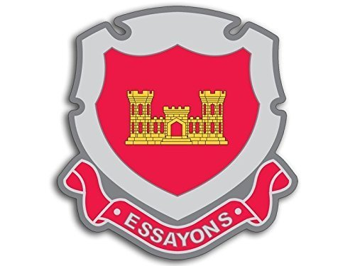 GHaynes Distributing Army Corps of Engineers ESSAYONS Crest Shaped Sticker Decal ic Size: 3 x 4 -