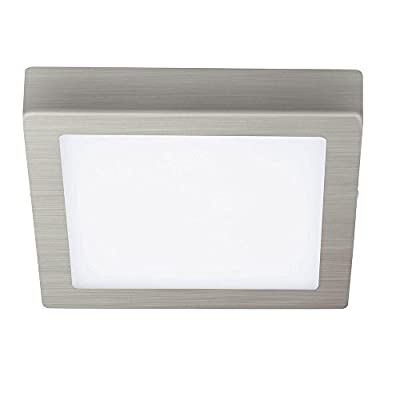 Eglo 1x17W LED Square Ceiling Light In Matte Nickel Finish & White Glass