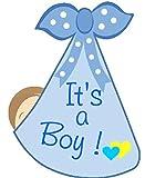 It's a Boy Stork Bundle Door Hanger - Welcome Home New Baby Birth Announcement Sign - Blue Baby Shower Party Supplies - Hospital Newborn Wreath Decoration