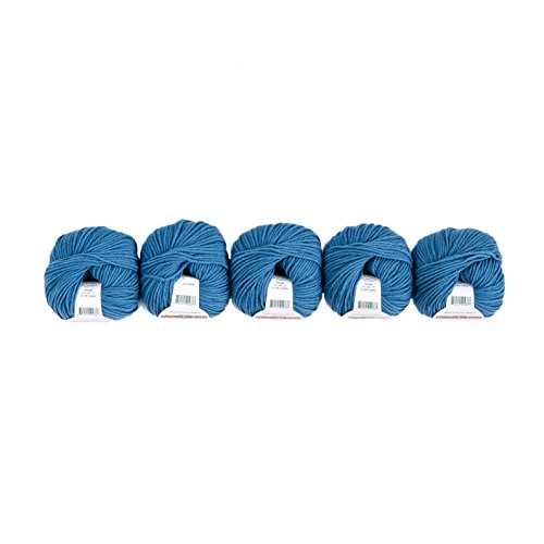 (Valley Yarns Valley Superwash 5-Pack (Washable, Worsted Weight Yarn, 100% Extra Fine Merino Wool) - #502 Colonial Blue)