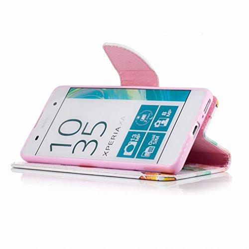 LEMORRY Sony Xperia XA Custodia Pelle Cuoio Flip Portafoglio Borsa Sottile Fit Bumper Protettivo Magnetico Chiusura Morbido Silicone TPU Case Cover Custodia per Sony Xperia XA, Farfalla Floreale