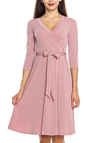 U A Faux 3 Knee Tie Dress Length Self Sleeve KAYDEN Mauve Made Wrap Women's in KAYLYN S 4 KLKD wSqWTFvWxZ