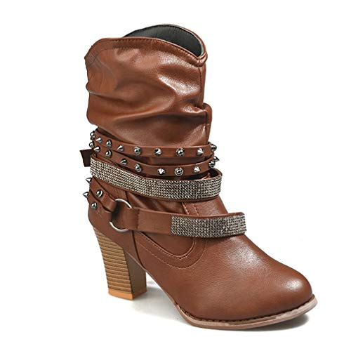 Womens Wide Calf Ankle Bootie Mid Chunky Stacked Heel Strap Wrap Rivet Slip On Casual Short Boots Caramel 3' Chunky Heel Boots